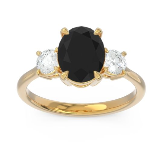 Three Stone Oval Matr Black Onyx Ring with Diamond in 18k Yellow Gold