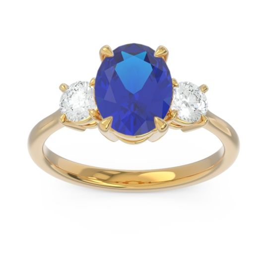 Three Stone Oval Matr Blue Sapphire Ring with Diamond in 18k Yellow Gold