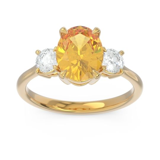Three Stone Oval Matr Citrine Ring with Diamond in 14k Yellow Gold