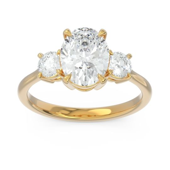 Three Stone Oval Matr Diamond Ring in 18k Yellow Gold