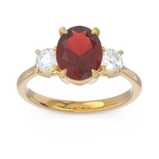 Three Stone Oval Matr Garnet Ring with Diamond in 18k Yellow Gold