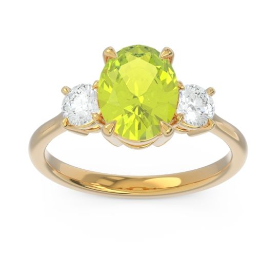 Three Stone Oval Matr Peridot Ring with Diamond in 18k Yellow Gold