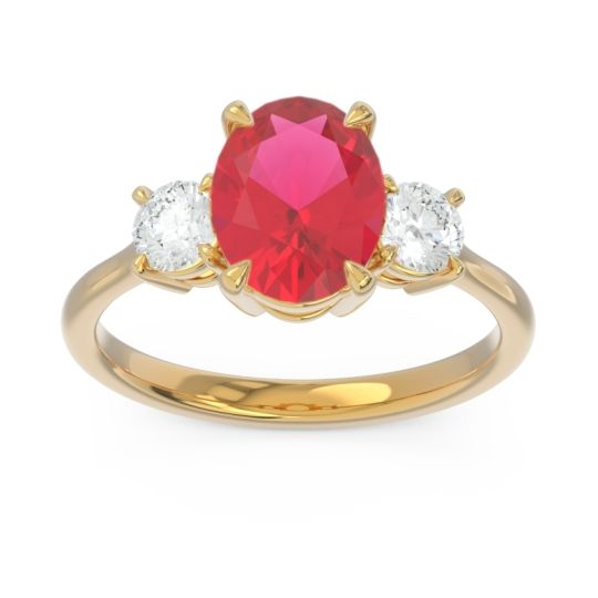 Three Stone Oval Matr Ruby Ring with Diamond in 18k Yellow Gold