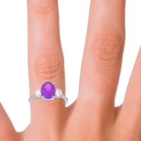 Three Stone Oval Matr Amethyst Ring with Diamond in 18k White Gold