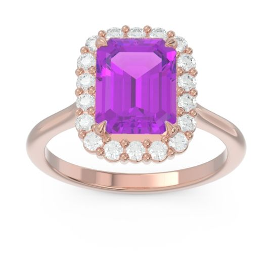 Halo Octagon Dasi Amethyst Ring with Diamond in 14K Rose Gold