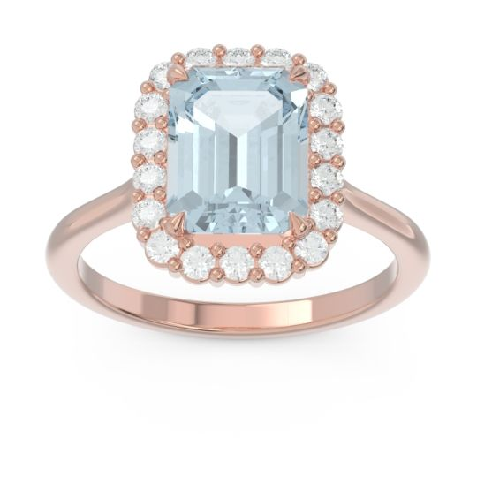 Halo Octagon Dasi Aquamarine Ring with Diamond in 14K Rose Gold