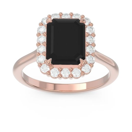 Halo Octagon Dasi Black Onyx Ring with Diamond in 14K Rose Gold