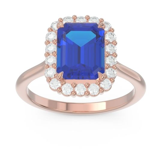 Halo Octagon Dasi Blue Sapphire Ring with Diamond in 14K Rose Gold