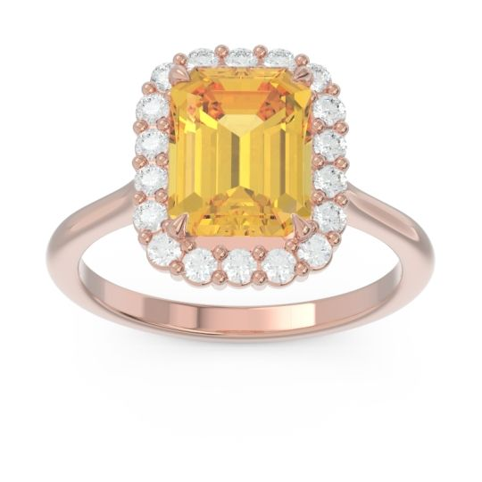 Halo Octagon Dasi Citrine Ring with Diamond in 14K Rose Gold