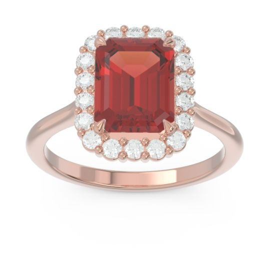 Halo Octagon Dasi Garnet Ring with Diamond in 14K Rose Gold