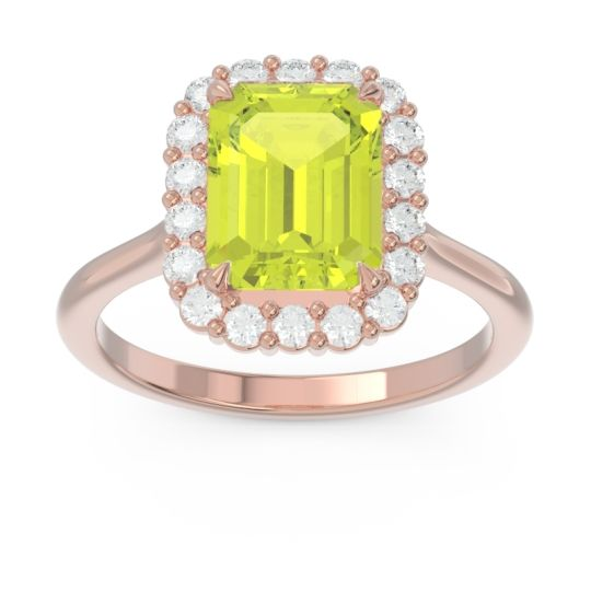 Halo Octagon Dasi Peridot Ring with Diamond in 14K Rose Gold