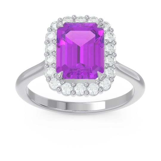 Halo Octagon Dasi Amethyst Ring with Diamond in 14k White Gold