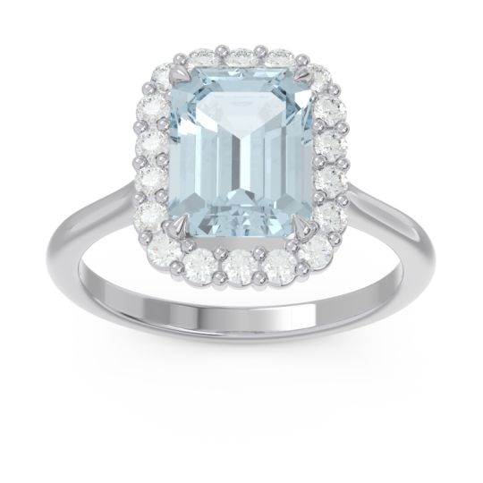 Halo Octagon Dasi Aquamarine Ring with Diamond in Palladium