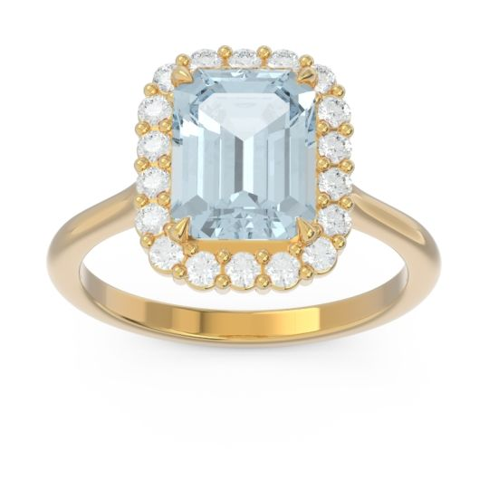 Halo Octagon Dasi Aquamarine Ring with Diamond in 14k Yellow Gold