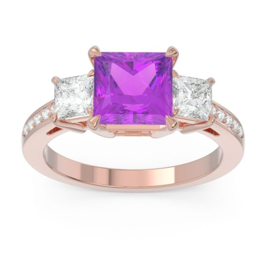 Three Stone Pave Princess Alinda Amethyst Ring with Diamond in 14K Rose Gold