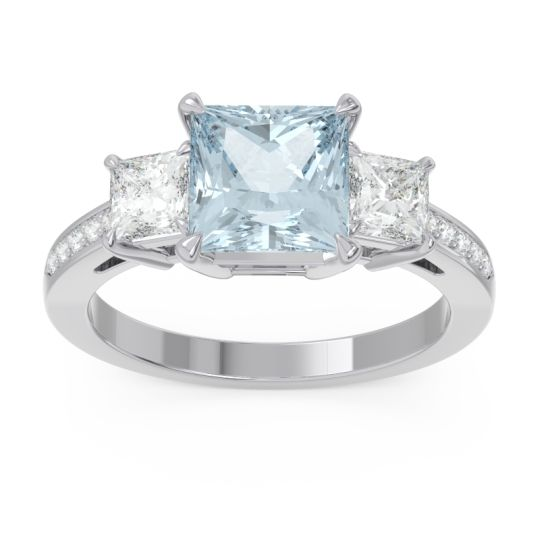 Three Stone Pave Princess Alinda Aquamarine Ring with Diamond in 14k White Gold