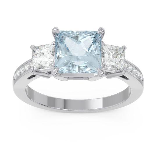 Aquamarine Three Stone Pave Princess Alinda Ring with Diamond in 14k White Gold