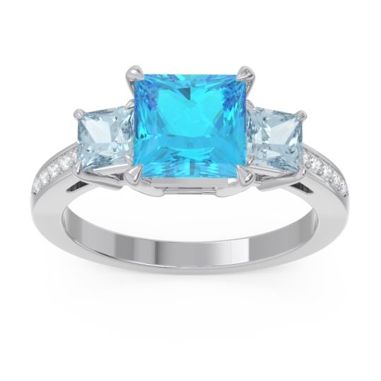 Three Stone Pave Princess Alinda Swiss Blue Topaz Ring with Aquamarine and Diamond in 14k White Gold