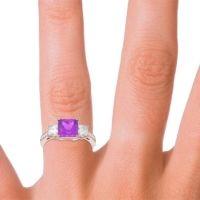Three Stone Pave Princess Alinda Amethyst Ring with Diamond in 14K Rose Gold