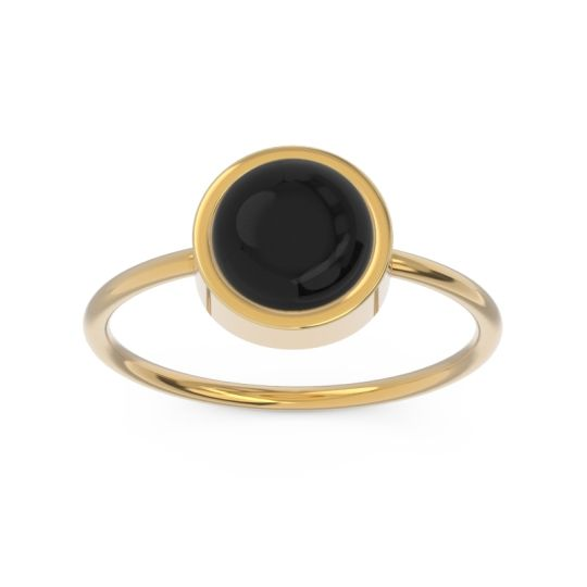 Solitaire Cabochon Bezel Mandala Black Onyx Ring in 14k Yellow Gold