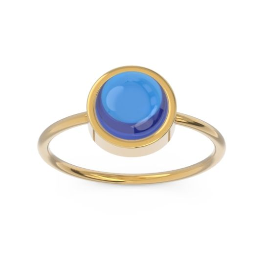 Solitaire Cabochon Bezel Mandala Blue Sapphire Ring in 14k Yellow Gold