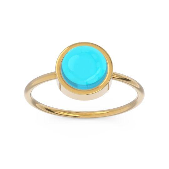 Solitaire Cabochon Bezel Mandala Swiss Blue Topaz Ring in 14k Yellow Gold