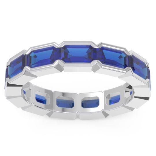 Blue Sapphire Eternity Emerald Cut Marga Band in 14k White Gold