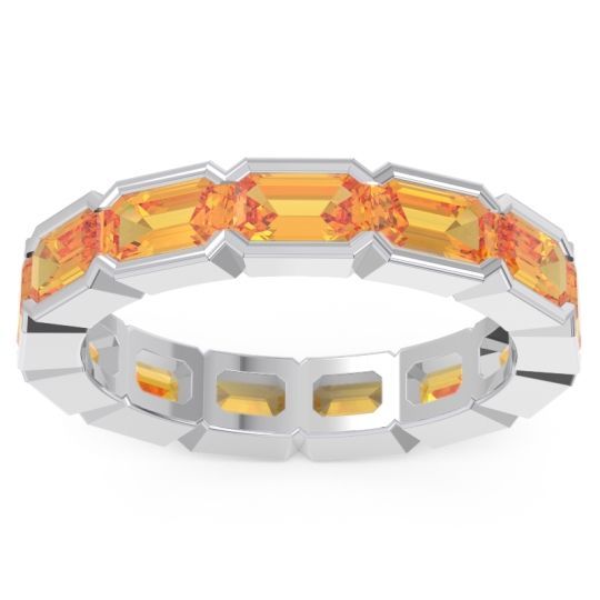 Citrine Eternity Emerald Cut Marga Band in 14k White Gold