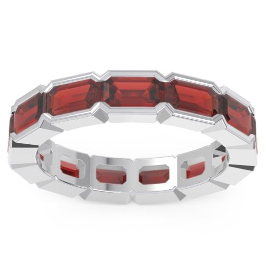 Garnet Eternity Emerald Cut Marga Band in 14k White Gold