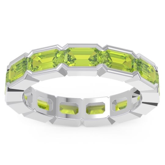 Peridot Eternity Emerald Cut Marga Band in 14k White Gold