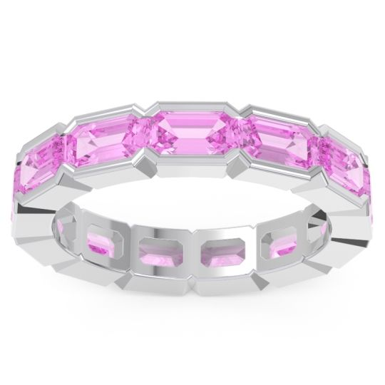 Eternity Emerald Cut Marga Pink Tourmaline Band in 14k White Gold