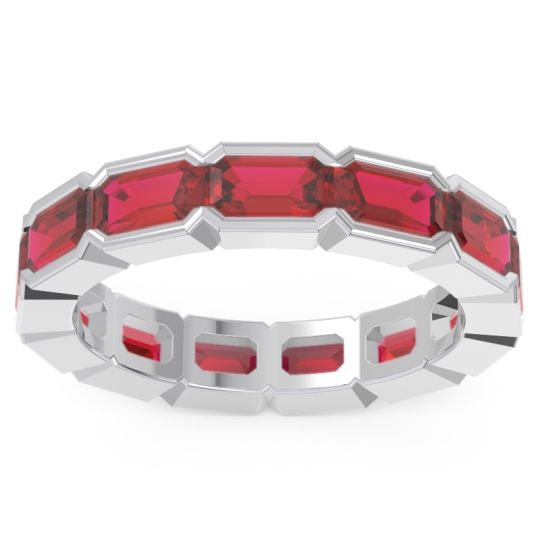 Ruby Eternity Emerald Cut Marga Band in 14k White Gold