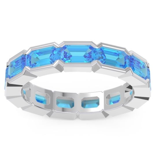 Swiss Blue Topaz Eternity Emerald Cut Marga Band in 14k White Gold