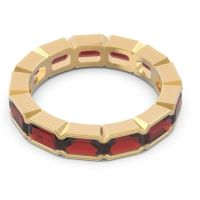Eternity Emerald Cut Marga Garnet Band in 14k Yellow Gold