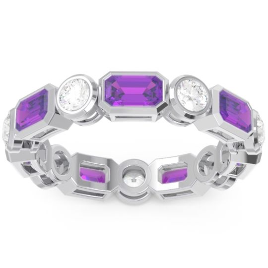 Eternity Methati Amethyst Band with Diamond in 14k White Gold
