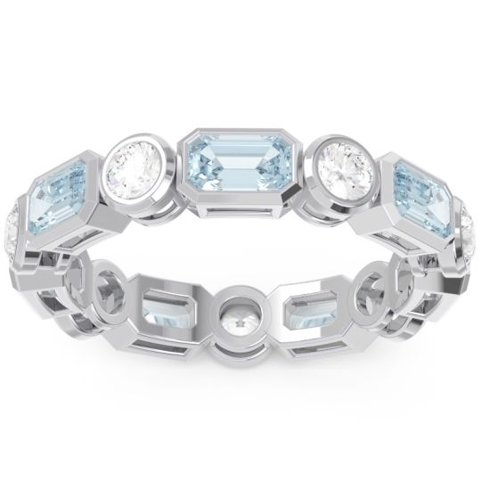 Aquamarine Eternity Methati Band with Diamond in 14k White Gold