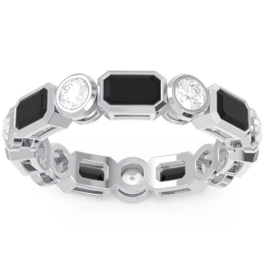 Eternity Methati Black Onyx Band with Diamond in 14k White Gold