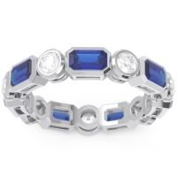 Eternity Methati Blue Sapphire Band with Diamond in Palladium