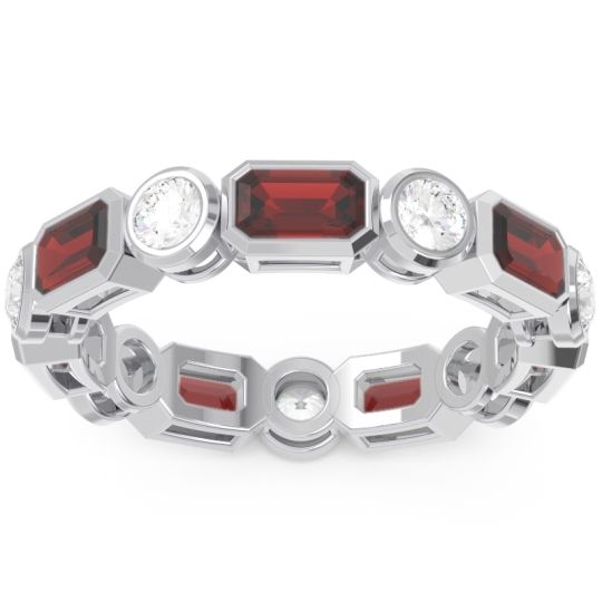 Garnet Eternity Methati Band with Diamond in 14k White Gold
