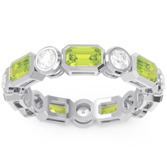 Peridot Eternity Methati Band with Diamond in 14k White Gold