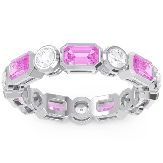 Pink Tourmaline Eternity Methati Band with Diamond in 14k White Gold