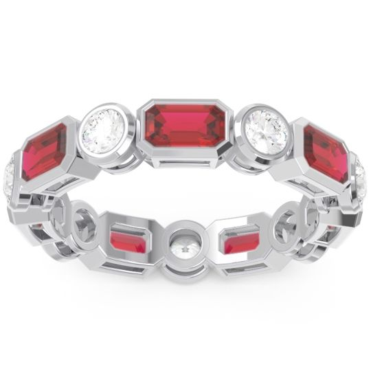 Eternity Methati Ruby Band with Diamond in 14k White Gold