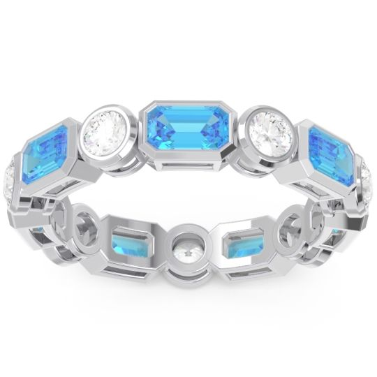 Swiss Blue Topaz Eternity Methati Band with Diamond in 14k White Gold