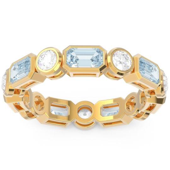 Eternity Methati Aquamarine Band with Diamond in 14k Yellow Gold