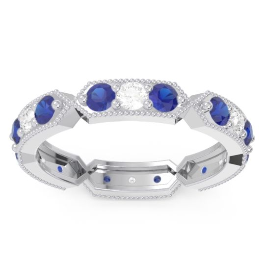 Blue Sapphire Eternity Baddha Band with Diamond in 14k White Gold