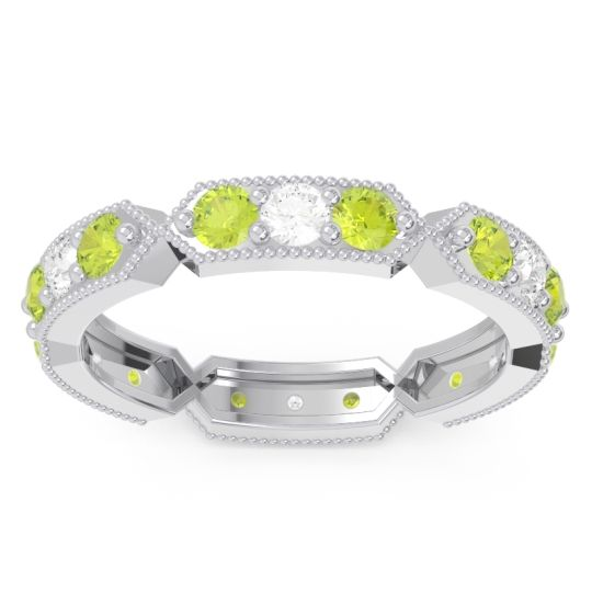 Peridot Eternity Baddha Band with Diamond in 14k White Gold