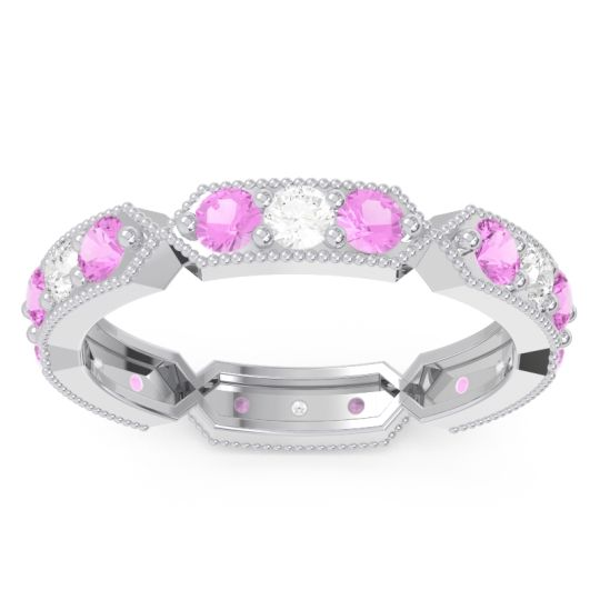 Pink Tourmaline Eternity Baddha Band with Diamond in 14k White Gold