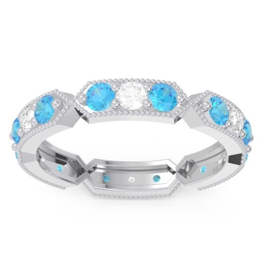 Swiss Blue Topaz Eternity Baddha Band with Diamond in 14k White Gold