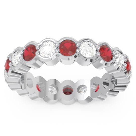 Ruby Eternity Sanu Band with Diamond in 14k White Gold
