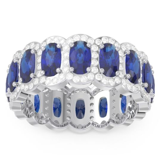 Blue Sapphire Eternity Uddanta Band with Diamond in 14k White Gold